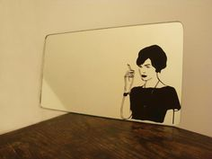 """""""Ode to Joan"""" Madmen mirror with decal. Could just paint it on."""