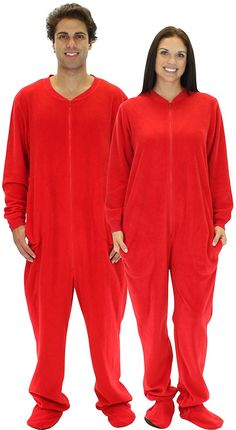 SleepytimePjs Adult Red Fleece Onesie Pjs Footed Pajama ** This is an Amazon Affiliate link. Click on the image for additional details.