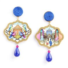 Circo Backstage earrings with cotton, passementerie, 925 gold plated silver and coloured jade drops. www.annaealex.com