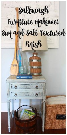 Saltwash Furniture Makeover. Saltwsh is a powdered paint additive that can be used with any brand or type of paint. Your finished piece gives the appearances of a weathered worn, salt sea and sun bleached finish. Super fun and easy to use! - 2 Bees in a P