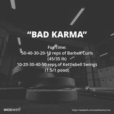 """""""Bad Karma"""" WOD Start with 50 reps of Barbell Curls, then move to the 10 Kettlebell Swings, then 40 Barbell Curls and 20 Kettlebell Swings, and so on. This workout first appeared on the. Crossfit Arm Workout, Crossfit At Home, Kettlebell Cardio, Kettlebell Training, Kettlebell Swings, Gym Workouts, Kettlebell Challenge, Training Exercises, Interval Training"""