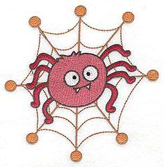Goofy Spider in web   Halloween Machine Embroidery Design