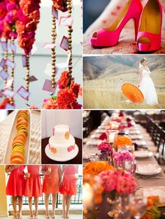 Bright Colored Wedding #hotpink #orange and #yellow Blog:Aisle Ready