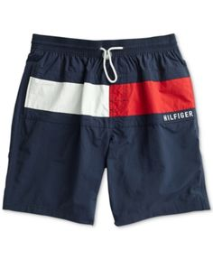 Tommy Hilfiger Adaptive Men's Logo Graphic Swim Trunks with Slide Loop Closure - Navy Blazer Outfits Hombre, Crew Shop, Man Swimming, Swim Trunks, Sport, Bathing Suits, Mens Fashion, Nike, Swimwear