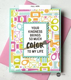 card brush paint color, crafty creative inventive hobby, Concord and Crafty Friend Cards Cards For Friends, Friend Cards, Crafty Hobbies, Jennifer Mcguire Ink, Mixed Media Cards, Concord And 9th, Slider Cards, Miss You Cards, Interactive Cards