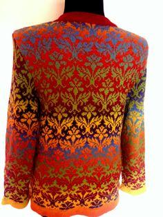 Rainbow cardigan fair isle knitted from wool yarn by SandrasMagic, $125.00
