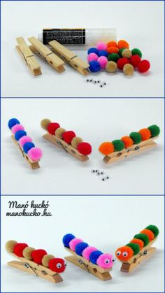 Vidám hernyó csipeszfigurák - Manó kuckó Cheerful caterpillar tweezers - Leprechaun per bambini Spring Crafts For Kids, Easy Crafts For Kids, Craft Activities For Kids, Summer Crafts, Toddler Crafts, Preschool Crafts, Easter Crafts, Projects For Kids, Art For Kids
