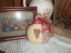 Primitive Snowman Angel Halo Homespun Country Thyme by thefarmladyscupboard on…