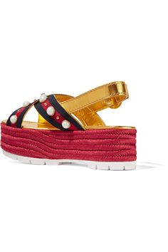 Gucci - Embellished Metallic Leather Espadrille Platform Sandals - Gold - IT40.5