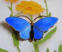 """Vintage Butterfly Pin, Norway Sterling, Aksel Holmsen, Basse-Taille Blue Enamel, Butterfly Brooch Pin, 1 7/8"""" x 1"""""""