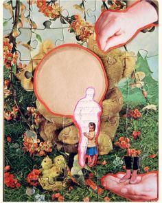 Collage op een oude puzzel. Maan