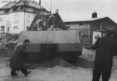 Maus v1 tank going thru trial maneuver tests. This program was a waste of resources and man power in regards to manufacturing and operation. Only one exists in the Kubinka War Museum in Russia.