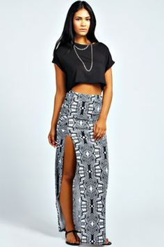 Jules Monochrome Tribal Rouched Maxi Skirt at boohoo.com