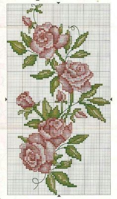 Crossstitch Roses / Flowers Pattern for embroidery Cross Stitch Love, Cross Stitch Borders, Cross Stitch Flowers, Cross Stitch Designs, Cross Stitching, Cross Stitch Embroidery, Hand Embroidery, Cross Stitch Patterns, Beading Patterns