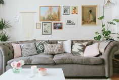 The People Shop owner Allison shares her Victorian style terraced new build in Kings Heath with a pastel pink and grey colour scheme and vintage details. Decor, Living Room Decor, Pastel House, House Styles, Accent Colors For Gray, New Builds, Colorful Decor, Inspiration Wall, Interior Design