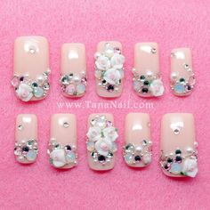 Japanese Nail Art - Little White Flower & rhinestones with nude color… Nail Polish Designs, Cute Nail Designs, Hot Nails, Hair And Nails, Special Nails, Japanese Nail Art, Flower Nails, Nail Art Diy, Nail Artist