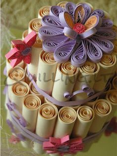 Quilled Paper Birthday Cake - by: Quilling.lt - Lithuania