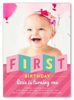 Folded First Girl 5x7 Invitation Card by Blonde Designs. Another year older. Another year of fun. Invite all the guests with this stylish first birthday invitation. Just add your favorite photos and all the event details.