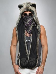 Grey Wolf SpiritHood by spirithoods in a mens size since I have a big head