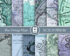 Maps Digital Paper, Blue Digital Paper Pack Vintage Maps Old Maps Scrapbooking - INSTANT DOWNLOAD - 1980