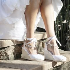 Ladies Espadrille Wedges with white satin and por ForeverSoles