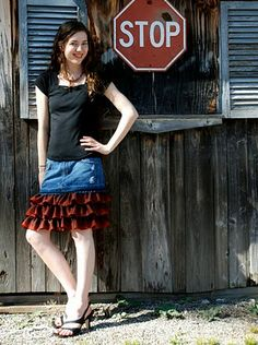 AmandaBeth Online: DIY Fashionista: Denim and Ruffle Skirt Tutorial