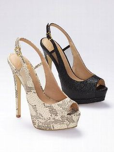 An essential gets an update. This Colin Stuart Slingback Peep Toe Pump from Victoria's Secret features to exotic prints and mesh inserts at the sides. With a sky-high heel and platform, this sexy sandal offers a new way to play the coquette.