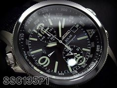 SEIKO SSC135P1 Solar Chronograph Gents Watch Military Style