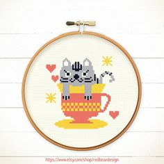 Funny Modern Cross stitch pattern PDF - Cat in teacup  How cute it can be when a cat in a teacup?? This pattern is a cute cat full of love for you.