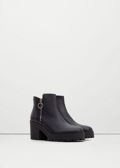 Bottines cuir plateforme - Chaussures pour Femme | MANGO France