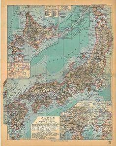 vintage map of Japan, 1928
