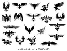 Buy Heraldic Eagles, Falcons and Hawks Set by VectorTradition on GraphicRiver. Heraldic black eagles, falcons and hawks set spread wings, isolated on white background FLAT SPORTS MASCOTS MEDICINE . Trendy Tattoos, Small Tattoos, Tattoo Pulso, Hawk Tattoo, Roots Tattoo, Tattoo Bird, Eagle Tattoos, Geniale Tattoos, Art Graphique