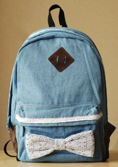 Sweet Lace bowknot Demin Backpack