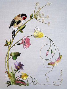 Wonderful Ribbon Embroidery Flowers by Hand Ideas. Enchanting Ribbon Embroidery Flowers by Hand Ideas. Bird Embroidery, Japanese Embroidery, Silk Ribbon Embroidery, Hand Embroidery Patterns, Cross Stitch Embroidery, Machine Embroidery Designs, Embroidery Supplies, Embroidery Books, Embroidery Tattoo