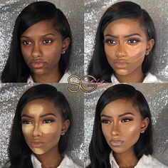Step by step highlight and contour for woc, woc foundation and concealer routine tutorial Contour Makeup, Flawless Makeup, Gorgeous Makeup, Love Makeup, Makeup Looks, Hair Makeup, Makeup Geek, Eyeshadow Makeup, Eyeshadow Palette