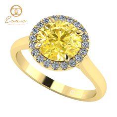 Inel de logodna cu diamant galben si diamante ES151 Fashion, Moda, Fashion Styles, Fasion