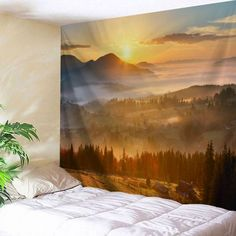Natural Sunset View Fabric Throw Wall Tapestry - Gold Brown W71 Inch * L91 Inch Mobile