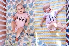 Sunny and Juna cribside in their adorable twin onesies.