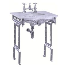 Burlington Georgian marmorinen pesupöytä alumiinijaloilla   Klassinen Kylpyhuone