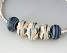 Southwest BHB Set 3 Handmade Lampwork Beads Denim Cream