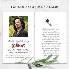 Celebration of Life Mass Card Photo Keepsake Customized For You with your personalized photo and prayer card wording. The memorial keepsake cards are two sided, full color 2.5 x 4.25 cards.