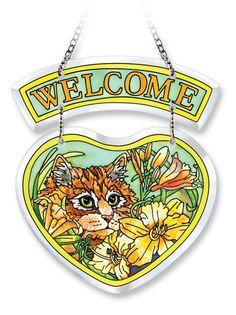 Beveled Heart Suncatcher Ginger the Cat