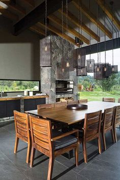 chique madeira pedra Kitchen Sitting Areas, Home Designer, Rest House, Outdoor Dining, Outdoor Decor, Outdoor Kitchen Design, Next At Home, Modern House Design, Home Renovation