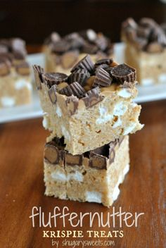 Fluffernutter Krispie Treats: a delicious chocolate peanut butter and marshmallow treat, easy and no bake too! #reeses