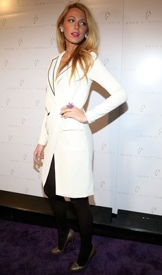 Blake Lively wore a white blazer dress. | See All the NY Fashion .. Blake Lively Wore A White Blazer Dress See All The NY Fashion