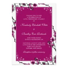 Pink, black, and white cherry blossom floral wedding invitation #weddings #invitations #weddinginvitations #wedding #cherryblossom