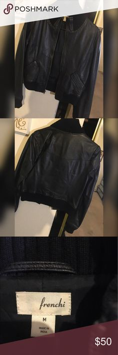 Leather jacket Great condition / sweater like trimming / is a medium but could fit a small Frenchi Jackets & Coats