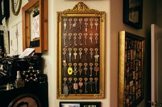 Studio - Decor, Vintage Hotel Key Board, altered, uses  7 Gypsies - Display Trim - Loops and Hooks-antique brass and antique mirror