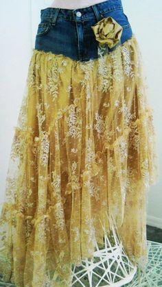 Belle Bohémienne exquisite vintage beige lace funky frou frou Renaissance Denim Couture bohemian jean skirt Made to Order - LoveItSoMuch.com