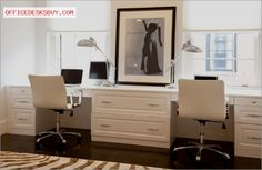 """Ideabooks846  Questions0 Photo: Mary Prince © 2013 Houzz  His and her custom built desks opposite their bedroom    The Vogue print reflects Lisa's passion for fashion.   Paint: White Dove, Benjamin Moore; chairs: Ripple Ivory Leather Office Chair, Crate and Barrel; rug: Steven King Showroom/Boston Mass; Vogue print: Zimman's""""Double desk"""" — rachelerrn    - http://officedesksbuy.com/ideabooks846questions0photo-mary-prince-2013-houzzh"""